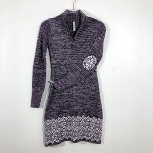 Soybu Nordic Fair Isle Print Sweater Dress FB20